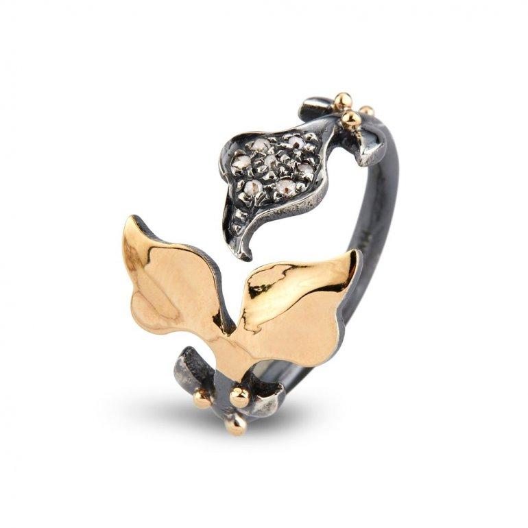 By Birdie: Sommerset Ring - Sølv, 14KT Guld, Diamanter - 50110220