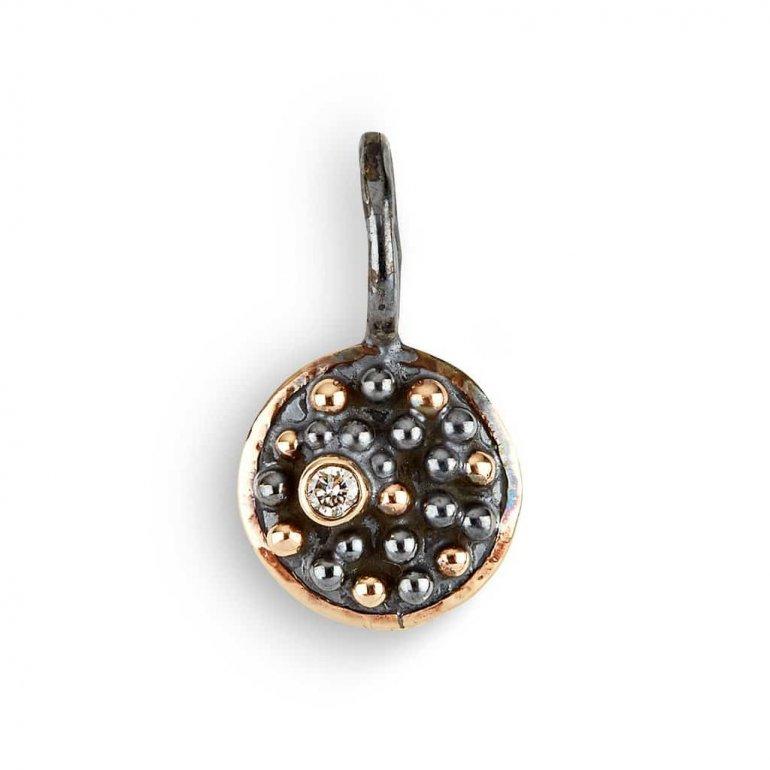 By Birdie: Harlem Shake Circle vedhæng i sølv og 14 KT guld m. diamant