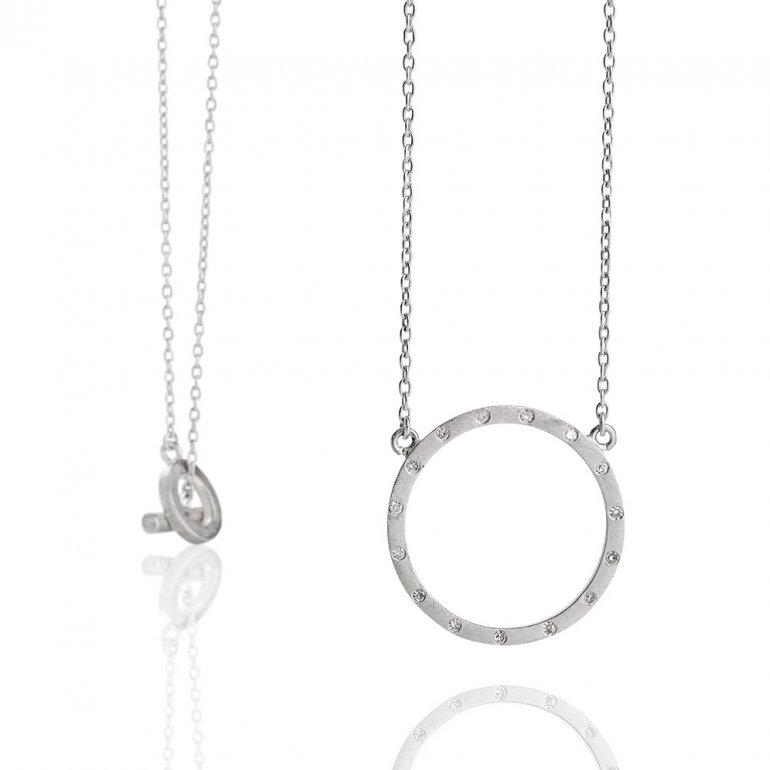 Anette Wille: Cosmos Halskæde i sølv m. diamanter  EV683