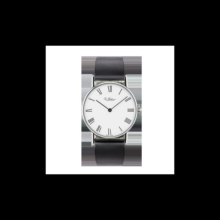 Ole Mathiesen: OM1.33.Q - Classic Mid-size ur - 33mm -  Hvid skive - Sort læderrem