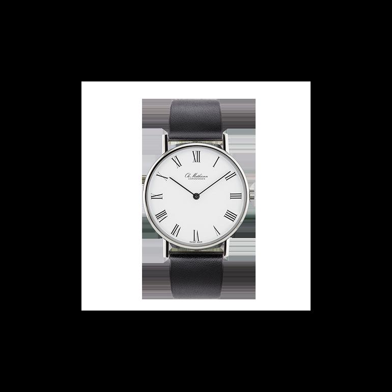 Ole Mathiesen: OM1.35.M - Mekanisk Optræk Classic ur - 35mm - Hvid skive - Sort rem
