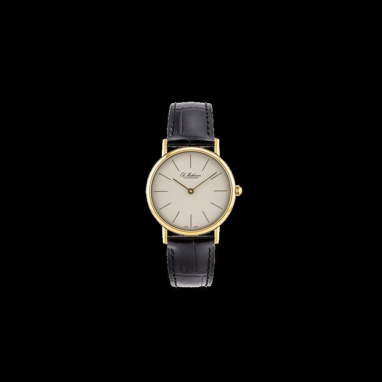 Ole Mathiesen: OM2D.30.Q, 30mm, kvarts ur, sort læderrem