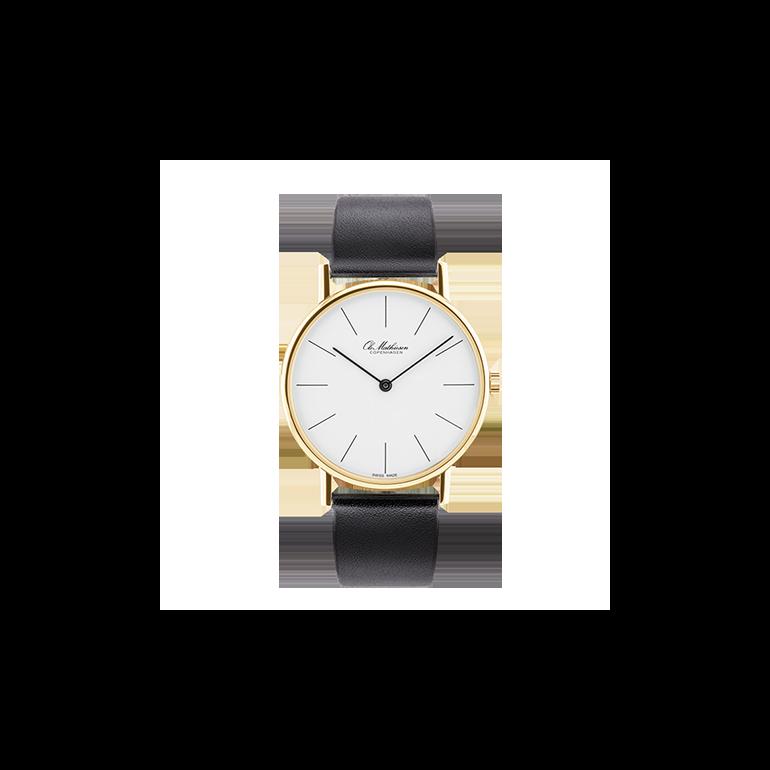 Ole Mathiesen: OM2D.35.Q, Classic ur, 35mm, Gulddouble, Sort rem