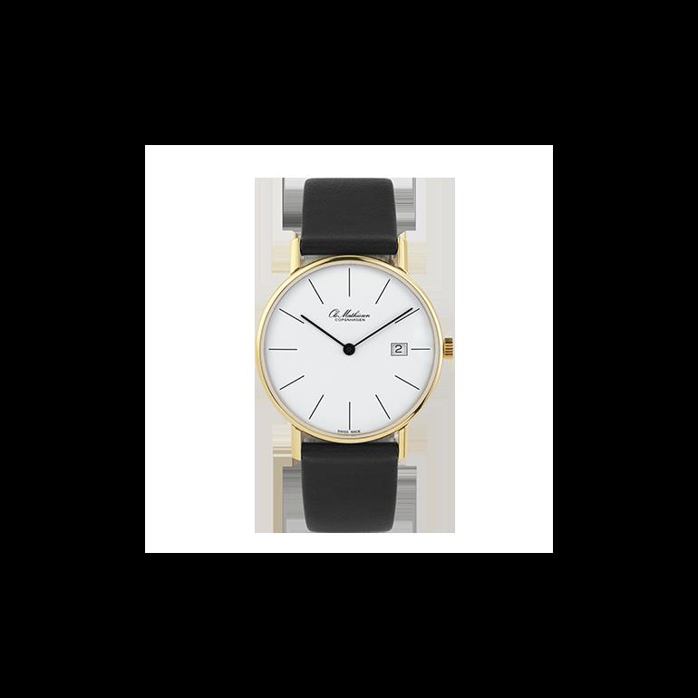 Ole Mathiesen: OM2D.35DATE.Q - forgyldt Classic ur, 35mm, Sort rem