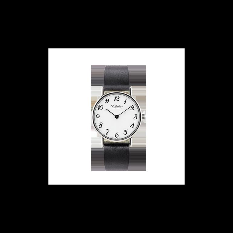 Ole Mathiesen: OM3.28.Q Classic Lady-size, hvid skive, sort læderrem