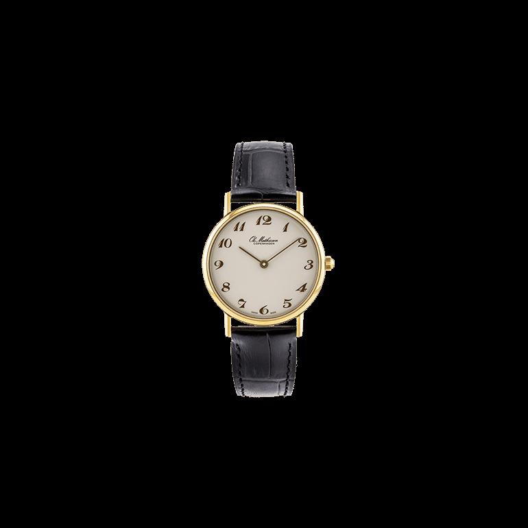 Ole Mathiesen: OM3D.30.Q, 30mm, kvarts ur, sort læderrem